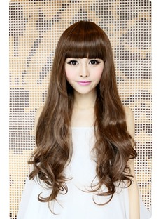 Hot Sale Top Quality Sweet Long Wavy Brown Wig 24 Inches Makes You More Lovely