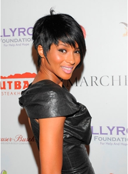 New Arrival Ciara Cool Unisex Celebrity Hairstyle Short Straight Wig with Bang 100% Human Hair Makes You More Attractive