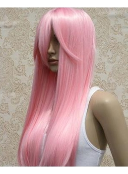 Custom Cool Amazing Long Straight Pink Wig for Cosplay