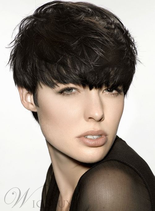 Saleable Stylish Unisex Short Loose Wavy Natural Wig with Bang 100% Human Hair Makes You More Charming! Brand New!