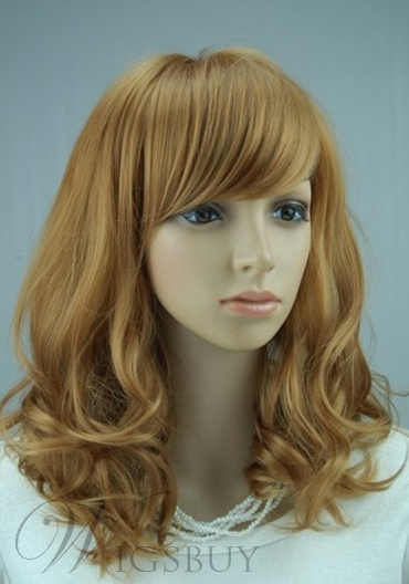 Hot Sale Top Quality Lovely Medium Wavy Strawberry Blonde Wig 16 Inches Makes You More Charming