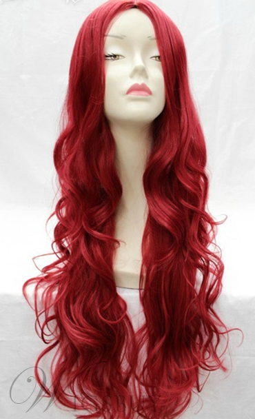 New Fashion Amazing Super Long Wavy Red Wig for Cosplay