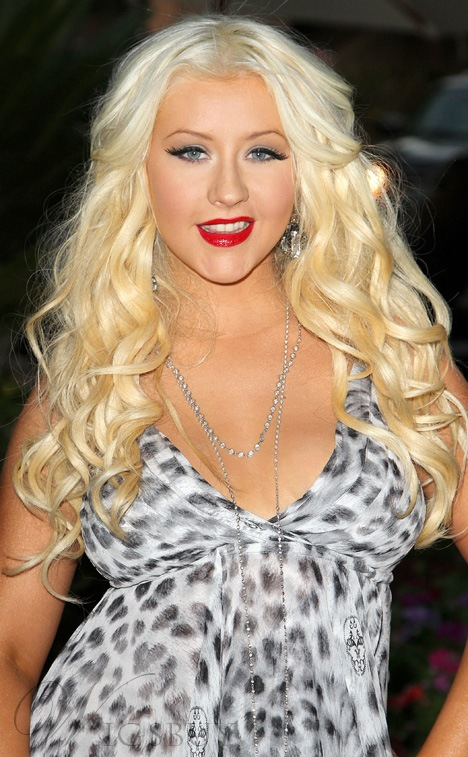 Christina Aguilera Hairstyle Super Sexy and Hot Blonde Heat Resistant Lace Synthetic Wig 22 Inches