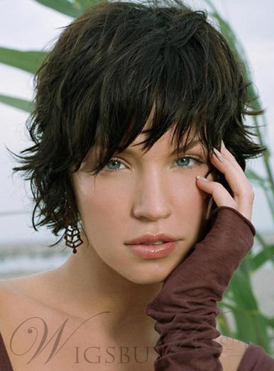 Sexy Short Wavy Natural Wig 100% Human Hair 8 Inches