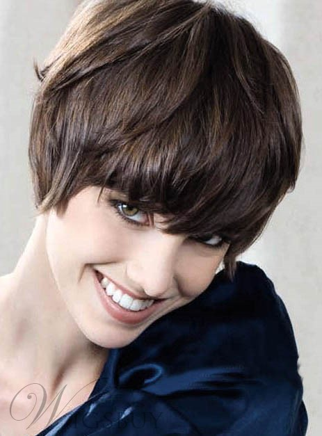 New Trend Lovely Thick Soft Short Straight Wig 100% Human Hair Makes You More Charming