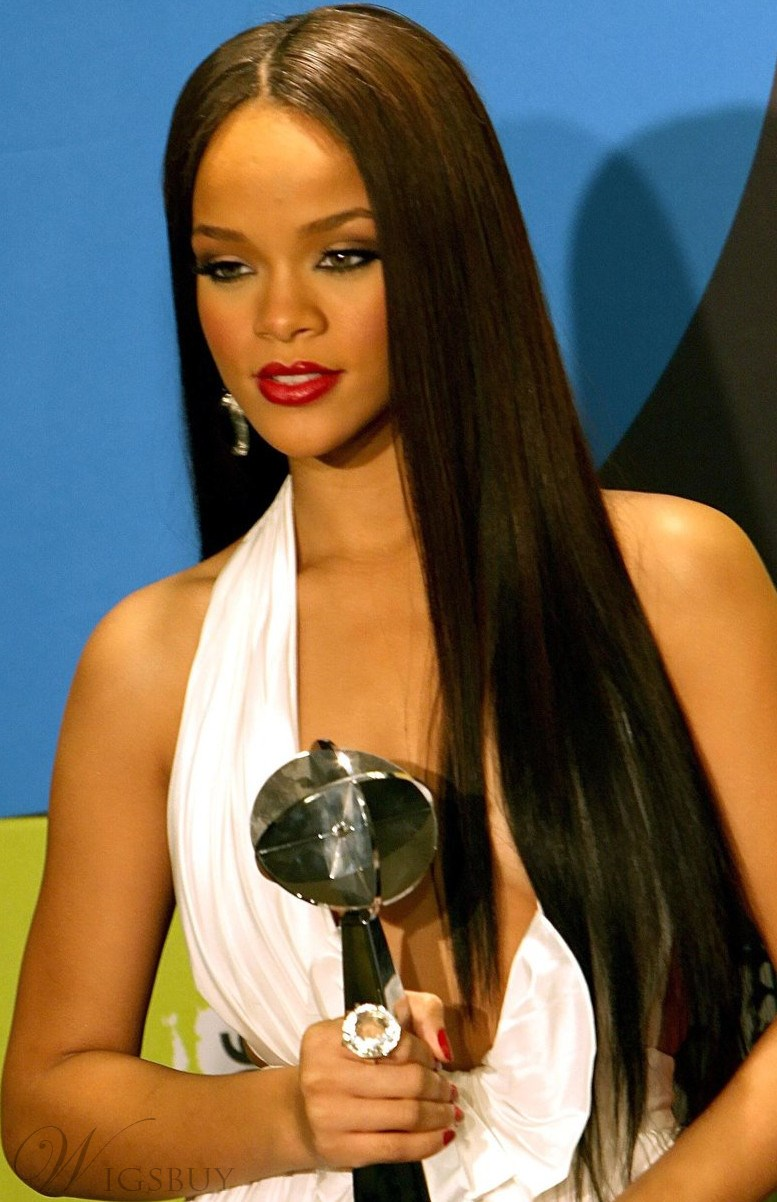 Top Quality Custom Rihanna Hairstyle Synthetic Lace Wig 24 Inches Silky Straight