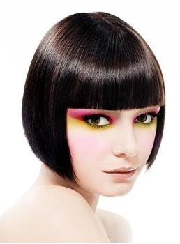 100% Human hair Cute Attractive Bob Hairstyle Short Silky Straight Wig with Full Bang