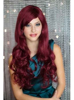 Hot Sale Top Quality Long Deep Wavy Dark Red Wig for Cosplay edbca8ff51