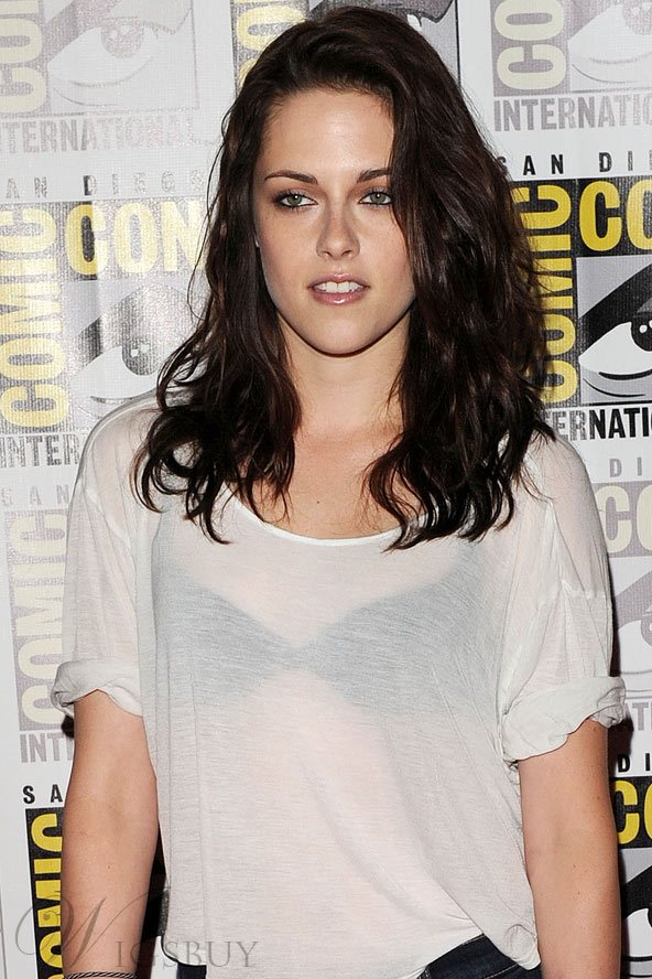 Kristen Stewart Hairstyle Top Quality Custom Lace Wig 16 Inches Wavy