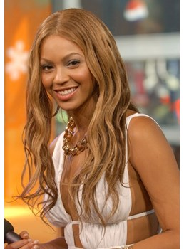 Beyonce Beautiful Gorgeous Sexy Long Wavy Strawberry Blonde Full Lace Wig 100% Human Hair 20 Inches
