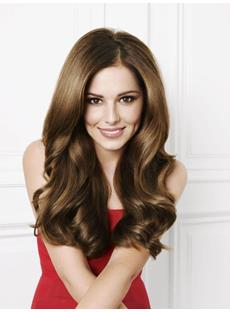 100% Indian Human Hair Amazing Graceful Long Wavy Brown Boutique Super Soft Full Lace Wig 18 Inches