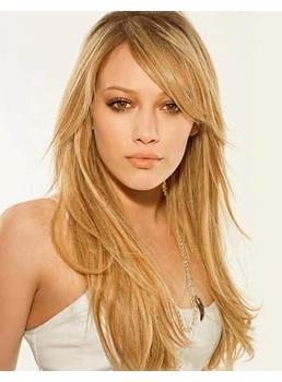 Celebrity Hairstyle Carefree Long Layered Straight Lace Wig with Side Swept Bang 22 Inches