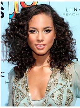 Premier Elegant African American Hairstyle Medium Curly Black Full Lace Wig 100% Human Hair 18 Inches