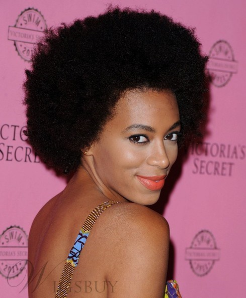 Zoe Kravitz Pretty Afro Hairstyle Short Fluffy Kinky Curly Black Full Lace Wig 100% Human Hair