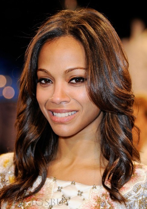 Zoe Saldana High Quality 100% Human Hair Fashionable Impressive Medium Wavy Lace Wig 14 Inches