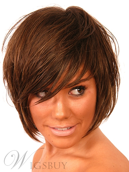 Boycut Short Straight Full Bang Wigs 100% Human Hair