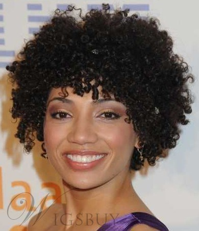 Top Quality Custom Elegant African American Hairstyle Short Curly Natural Black Wig 12 Inches100% Human Hair