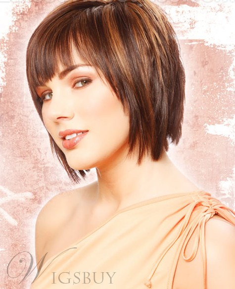 100% Human Hair New Cute Boutique Short Layered Straight Mixed Color Wig 100% Human Hair 8 Inches
