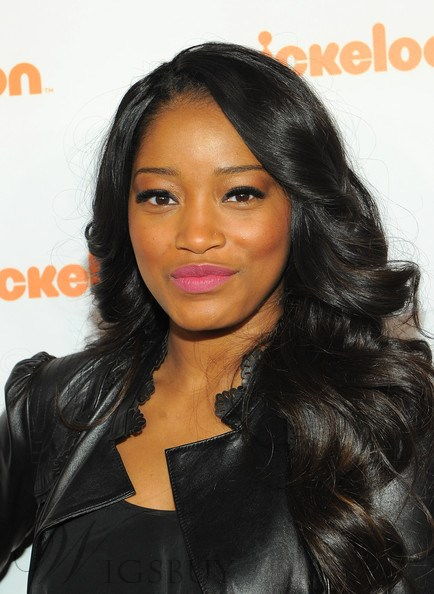 Keke Palmer High Quality Elegant Long Wavy Black Lace Wig