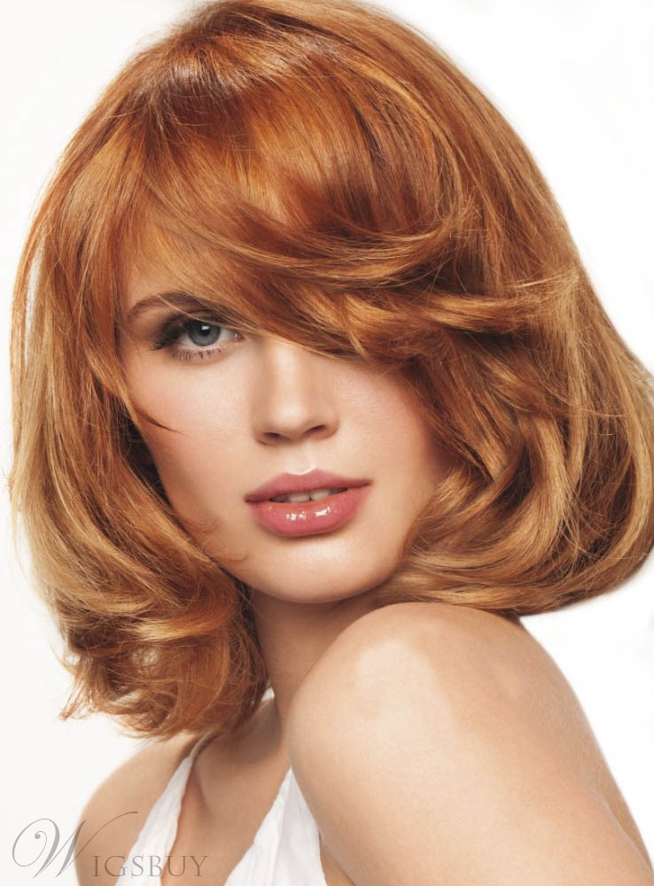 New Arrival Bob Hairstyle Lovely Medium Wavy Golden Brown Hand Tied Lace Wig 12 Inches
