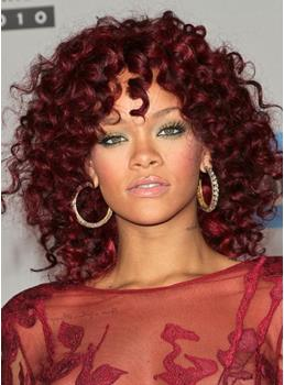 Hot Sale Rihanna's Hairstyle Red Medium Curly Capless Wig 150% Density 100% Human Hair 14 Inches
