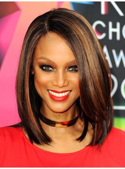 New Arrival Charming Tyra Banks Hairstyle Medium Straight Mixed Color Lace Wig 12 Inches