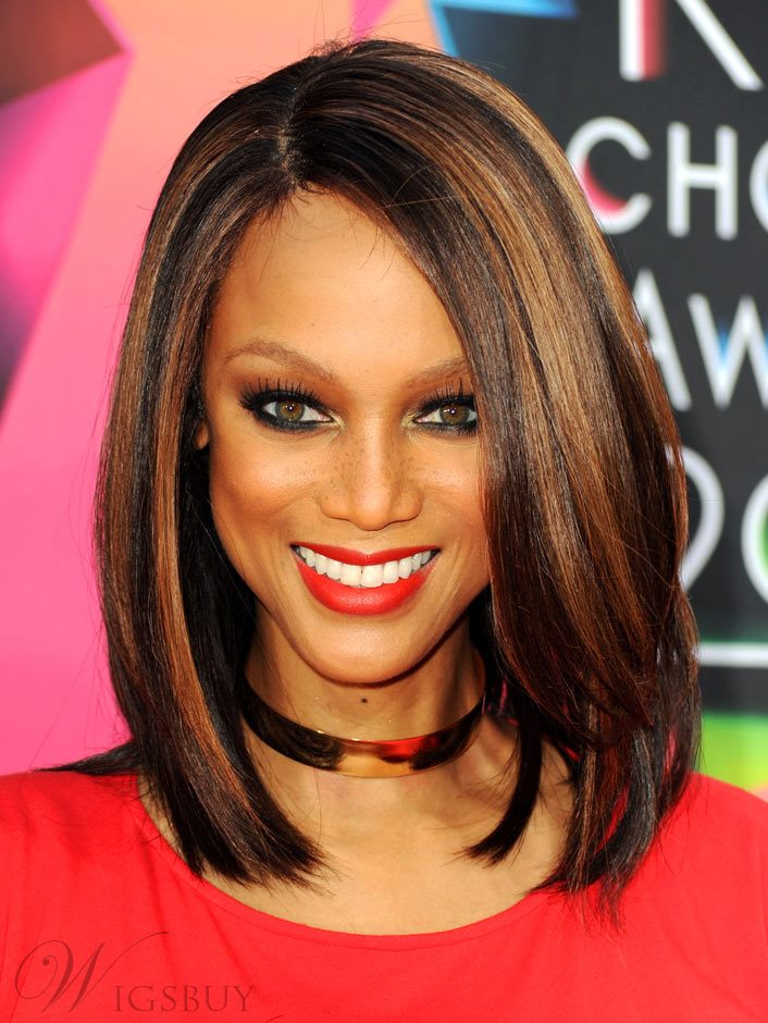 New Arrival Charming Tyra Banks Hairstyle Medium Straight Mixed