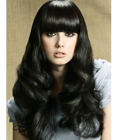 Long Big Curly Top Quality Wig with Full Bang 22 Inches