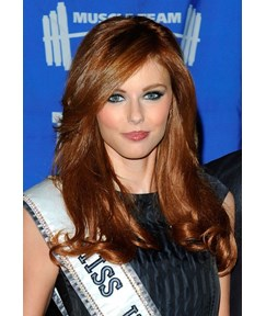 Sexy Amazing Side Part Hairstyle Miss USA Long Wavy Lace Wig Heat Resistant Hair 18 Inches