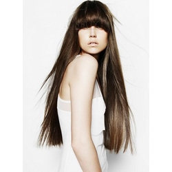 100% Human Hair Attractive Super Long Silky Straight Wig with Long Full Bang 24 Inches