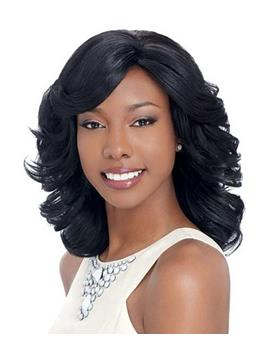 New Arrival Elegant Medium Curly Black Lace Wig 14 Inches