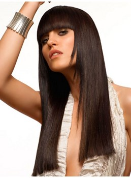 Beautiful Attractive Celebrity Hairstyle Long Smooth Straight Wig with Full Bang 100% Human Hair 20 Inches