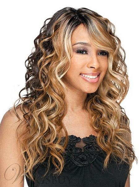 Attractive Sexy New Mixed Color Long Wavy Synthetic Lace Wig 22 Inches