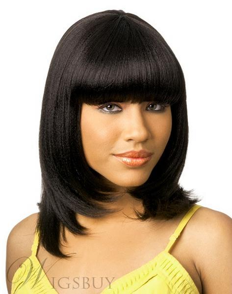 14 Inches Cute Charming Medium Straight Jet Black Cheap Wig