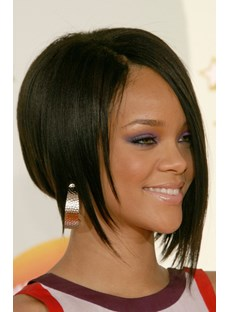 Rihanna Bob Haircut Lace Wig 10 Inches Silky Straight 100% Human Hair Wig