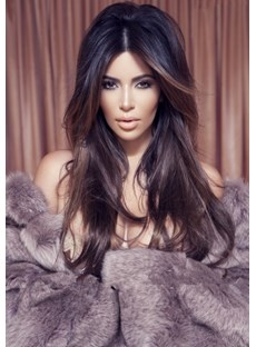 New Long Kim Kardashian Hairstyle 100% Indian Hair Lace Wig 22 Inches