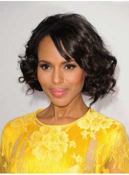 Kerry Washington Bob Haircut Full Lace Wig 10 Inches Curl 100% Brazilian Remy Hair