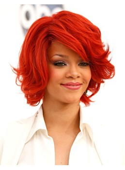 Heat Resistant Synthetic Hair Rihanna Hairstyle Capless Top Quality 10 Inches Wavy