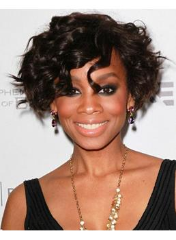 Chic Cute African American Hairstyle Short Curly Lace Wig 100% Human Hair