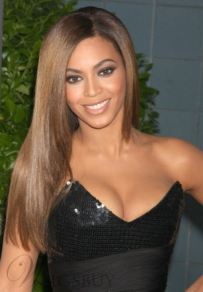 Beyonce Hairstyle 100% Indian Remy Hair Lace Wigs 20 Inches Silky Straight