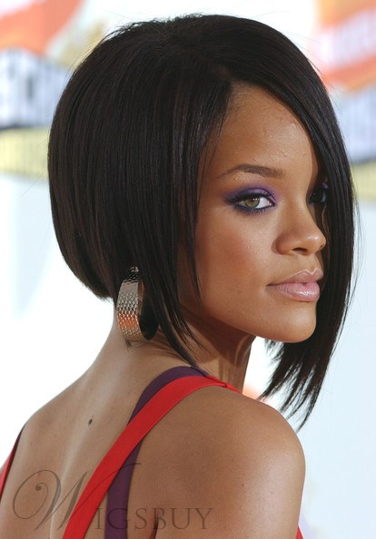 Rihanna Bob Haircut Lace Wig 10 Inches Silky Straight 100