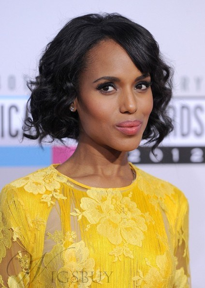 Kerry Washington Short Wave Full Lace Wigs 10 Inches