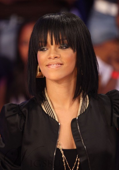 Rihanna Bob Haircut Remi Hair Capless Wigs 12 Inches
