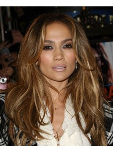 Jennifer Lopez Graceful Fashion Deluxe Long Wavy Lace Wig 100% Real Human Hair 18 Inches