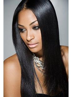 100% Indian Human Hair Glamorous Long Yaki Straight Layered Cut Lace Wig 20 Inches