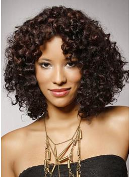 New Arrival Top Quality African American Hairstyle Medium Small Curly Lace Wig 100% Human Hair 16 Inches