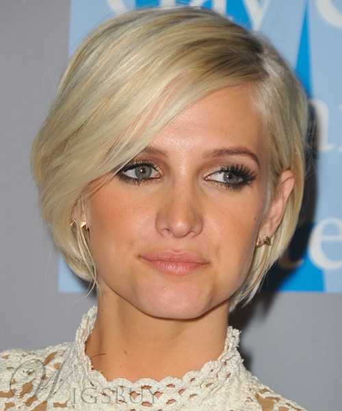 Elegant Amazing Ashlee Simpson's Hairstyle Short Straight Lace Wig 100% Human Hair 8 Inches