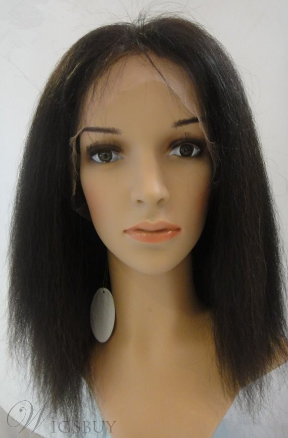 16 Inches 100% Human Hair Long Kinky Straight Full Lace Wig