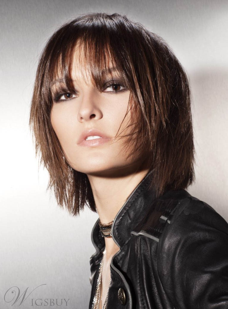Stylish Trendsetting Amazing New Arrival Short Straight 100% Real Human Hair Wig 10 Inches