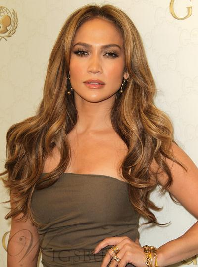 Jennifer Lopez Hairstyle Elegant Deluxe Long Wavy Lace Wig 100 Real